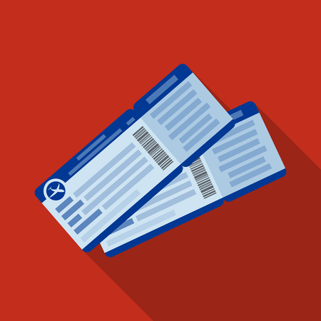 jorney: Two airline tickets icon in flat style isolated on white background. Rest and travel symbol stock vector illustration.