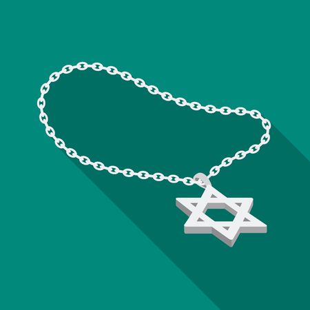 lavaliere: Star of David icon in flat style isolated on white background. Religion symbol stock vector illustration.