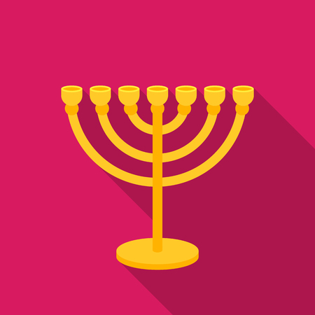Menorah icon in flat style isolated on white background. Religion symbol stock vector illustration. Illustration