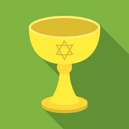 shabbat: Wine cup icon in flat style isolated on white background. Religion symbol stock vector illustration.
