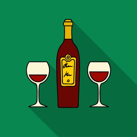 Bottle of red wine with glasses icon in flat style isolated on white background. Restaurant symbol stock vector illustration.