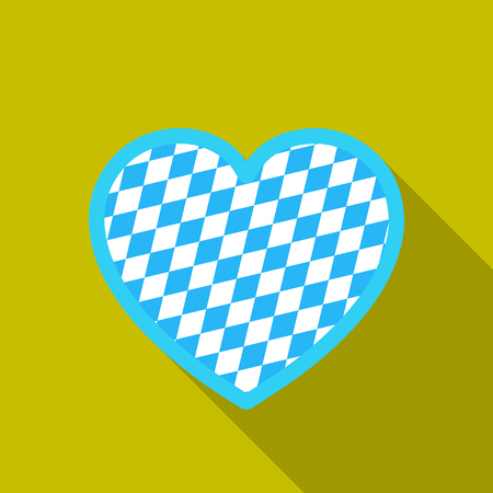 Oktoberfest heart icon in flat style isolated on white background. Oktoberfest symbol stock vector illustration.