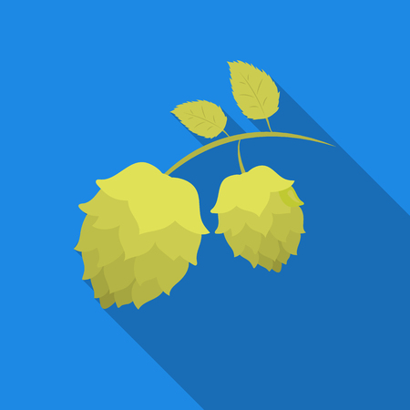Hops icon in flat style isolated on white background. Oktoberfest symbol stock vector illustration.