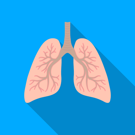 Lungs icon in flat style isolated on white background. Organs symbol stock vector illustration. Illustration