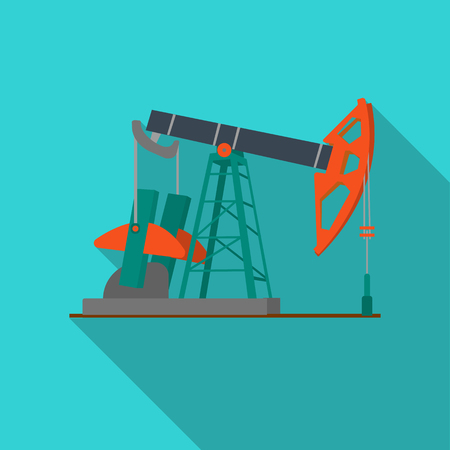 Oil pumpjack icon in flat style isolated on white background. Oil industry symbol stock vector illustration.