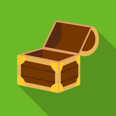 Pirate wooden chest icon in flat style isolated on white background. Pirates symbol stock vector illustration.