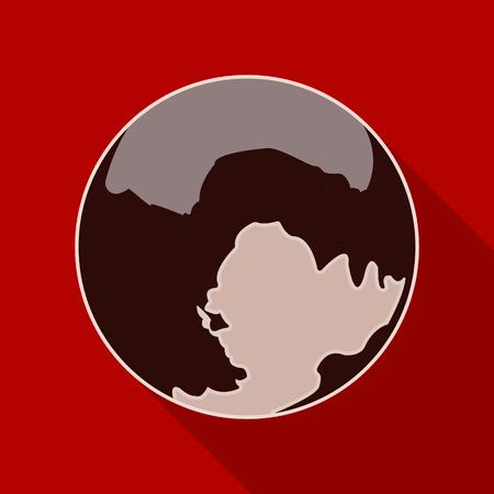 globe logo: Pluto icon in flat style isolated on white background. Planets symbol stock vector illustration.