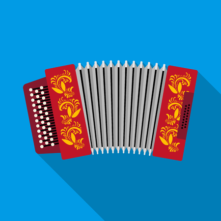 harmonic: Classical bayan, accordion or harmonic icon in flat style isolated on white background. Russian country symbol stock vector illustration. Illustration