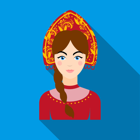happy woman: Russian woman in traditional suit icon in flat design isolated on white background. Russian country symbol stock vector illustration.