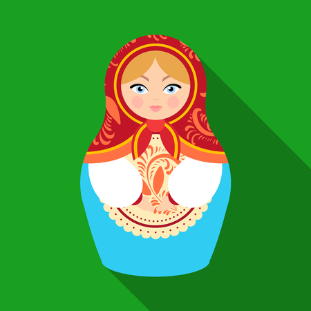 Russian matrioshka icon in flat style isolated on white background. Russian country symbol stock vector illustration.