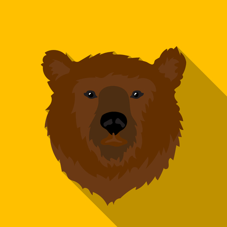 Brown bear muzzle icon in flat style isolated on white background. Russian country symbol stock vector illustration.