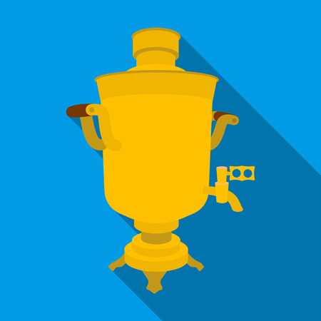 country kitchen: Samovar icon in flat style isolated on white background. Russian country symbol stock vector illustration.