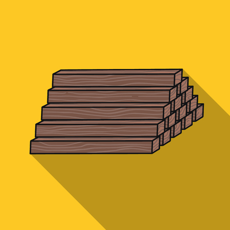 Stack of lumbers icon in flat style isolated on white background. Sawmill and timber symbol stock vector illustration.