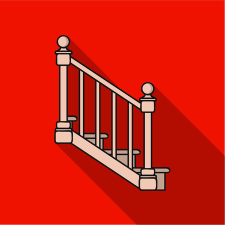 Stairs icon in flat style isolated on white background. Sawmill and timber symbol stock vector illustration.