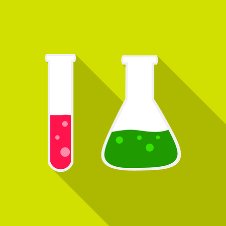 Test tube and retort icon flat. Single education icon from the big school, university flat. Illustration