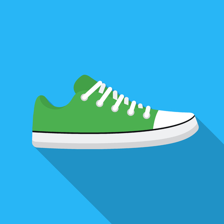shoelaces: Gumshoes icon in flat style isolated on white background. Shoes symbol stock vector illustration.