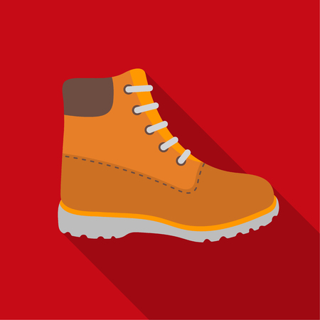 Hiking boots icon in flat style isolated on white background. Shoes symbol stock vector illustration. Vectores
