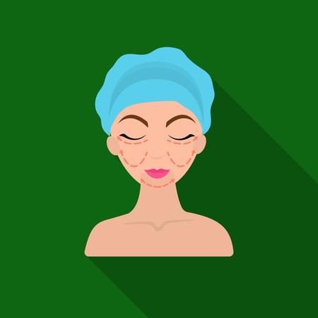 Icono de cirugía plástica cosmética en estilo flate aisladas sobre fondo blanco. Símbolo de cuidado de la piel ilustración vectorial stock.