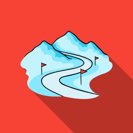 chalet: Ski track icon in flate style isolated on white background. Ski resort symbol stock vector illustration. Illustration