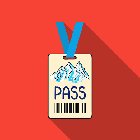 ski pass: Ski pass icon in flate style isolated on white background. Ski resort symbol stock vector illustration. Illustration