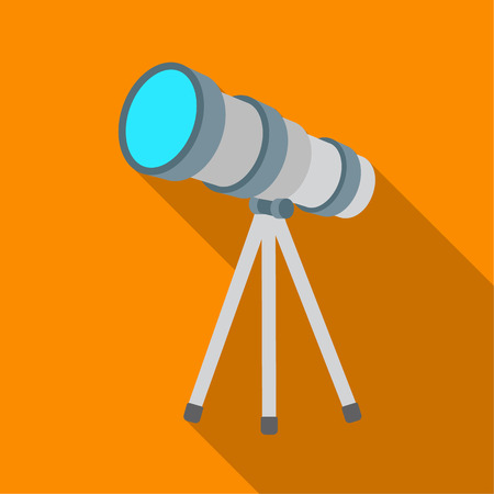 ocular: Telescope icon in flate style isolated on white background. Space symbol stock vector illustration. Illustration