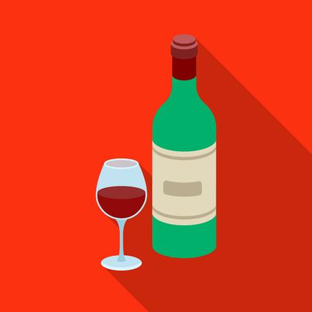 Spaanse wijnfles met glaspictogram in vlakke die stijl op witte achtergrond wordt geïsoleerd. Spanje land symbool voorraad vectorillustratie Stock Illustratie