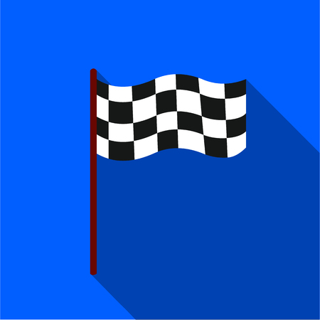 two crossed checkered flags: Checkered flag icon flate. Single sport icon from the big fitness, healthy, workout flate.