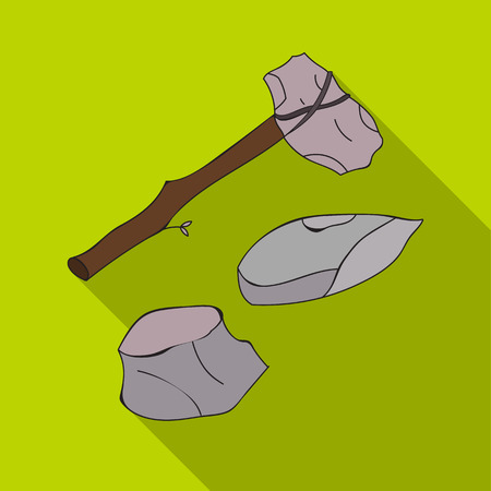 Stone tools icon in flate style isolated on white background. Stone age symbol stock vector illustration. Illustration