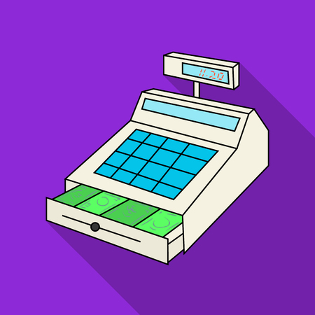 cash money: Cashbox icon in flate style isolated on white background. Supermarket symbol stock vector illustration.