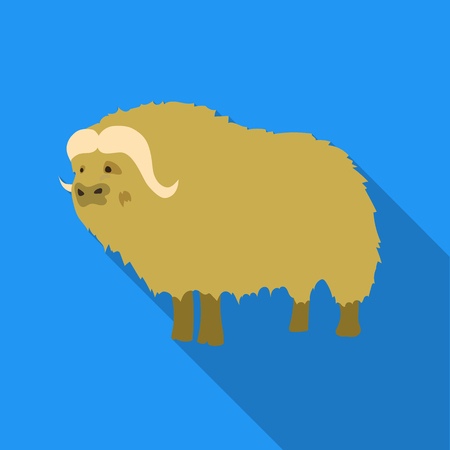 Muskox of stone age icon in flate style isolated on white background. Stone age symbol stock vector illustration.