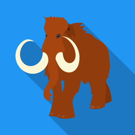 Woolly mammoth icon in flate style isolated on white background. Stone age symbol stock vector illustration. Illustration