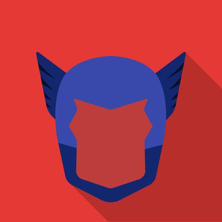 heroic: Superheros helmet icon in flate style isolated on white background. Superheros mask symbol stock vector illustration.