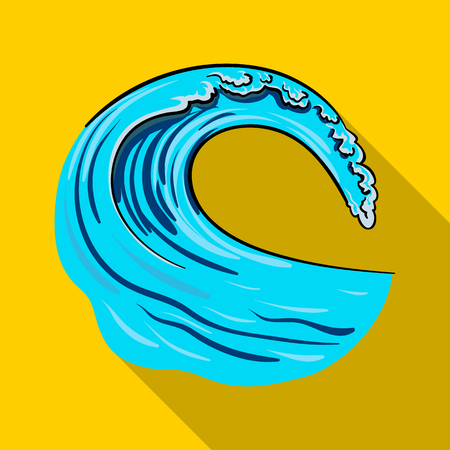 Wave icon in flate style isolated on white background. Surfing symbol stock vector illustration.
