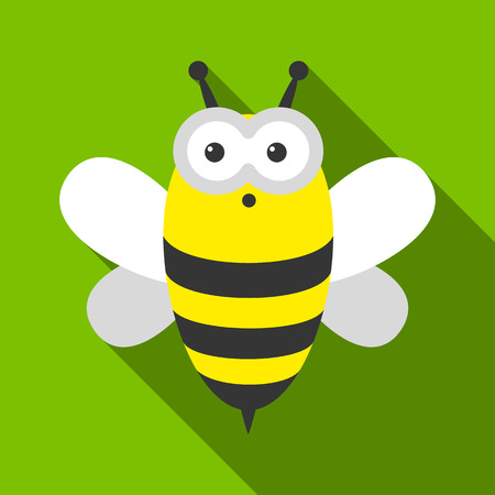 Bee flate icon. Illustration for web and mobile design. Illustration