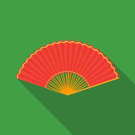 cartoom: Folding fan icon in flate style isolated on white background. Theater symbol stock vector illustration