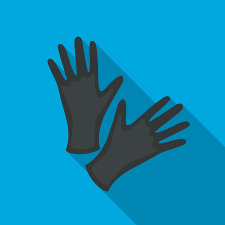 Black protective rubber gloves icon flate. Single tattoo icon from the big studio flate.