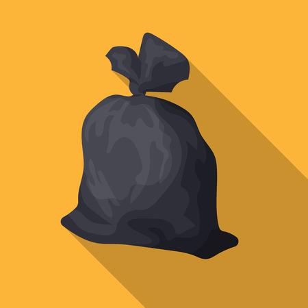 Müllsackikone in der flachen Art lokalisiert auf weißem Hintergrund. Abfall- und Abfallsymbolvorrat-Vektorillustration. Standard-Bild - 76359984