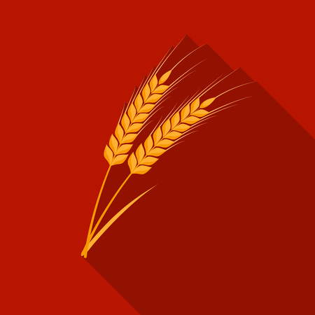 Ears of wheat pasta icon in flate style isolated on white background. Types of pasta symbol stock vector illustration.