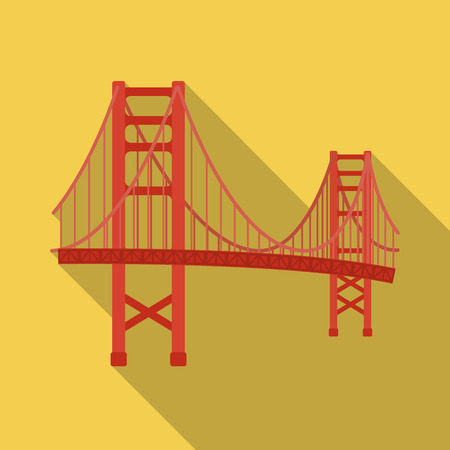 Golden Gate Bridge icon in flate style isolated on white background. USA country symbol stock vector illustration.