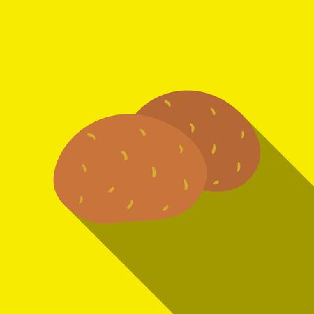 Icono de patata flate. Icono de verduras de la chamusquina del flate de la comida ecológica.