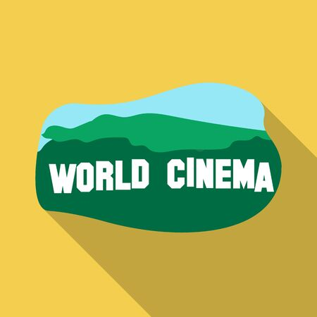 famous industries: World cinema sign icon in flate style isolated on white background. USA country symbol stock vector illustration.