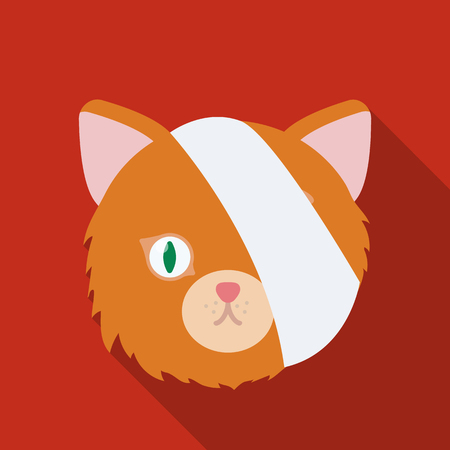 Sick cat with bandage on a head icon in flate style isolated on white background. Veterinary clinic symbol stock vector illustration. Illustration