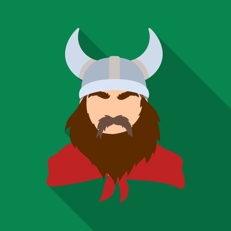 Viking icon in flate style isolated on white background. Vikings symbol stock vector illustration.