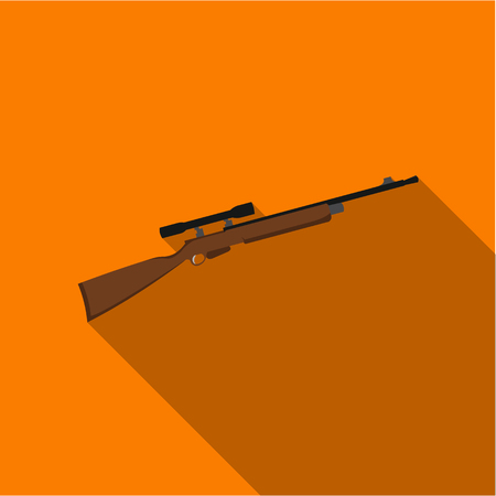sniper: Rifle sniper gun icon flate. Single weapon icon from the big ammunition, arms set.