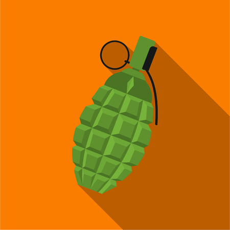 Grenade icon flate. Single weapon icon from the big ammunition, arms set.