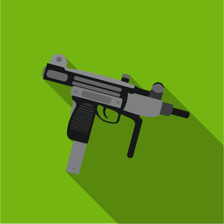 UZI weapon icon flate. Single weapon icon from the big ammunition, arms set.