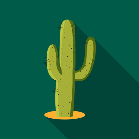 Cactus icon flate. Singe western icon from the wild west flate.