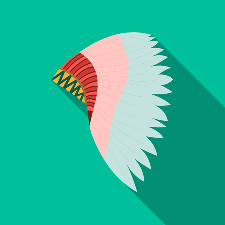 Mohawk indian icon flate. Singe western icon from the wild west flate. Illustration