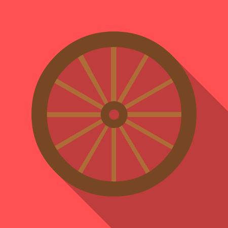 Cart-wheel icon flate. Singe westelijk pictogram van het wilde westvlak.