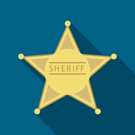 Sheriff icon flate. Singe western icon from the wild west flate. Illustration